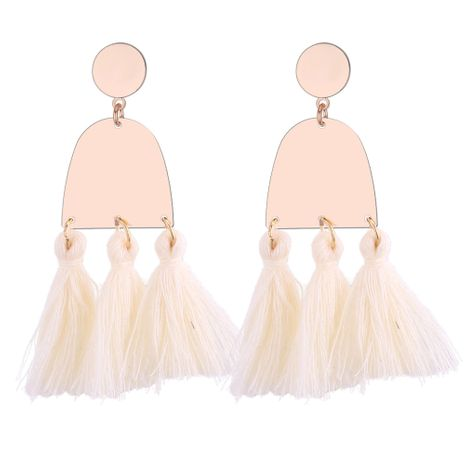 Korean version of the trend of wool tassel earrings (white) NHNPS3716's discount tags