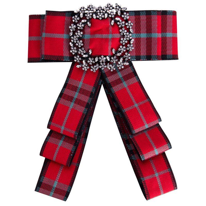 Fashion Alloy Rhinestone brooch Bows (red)  NHJE0902-red