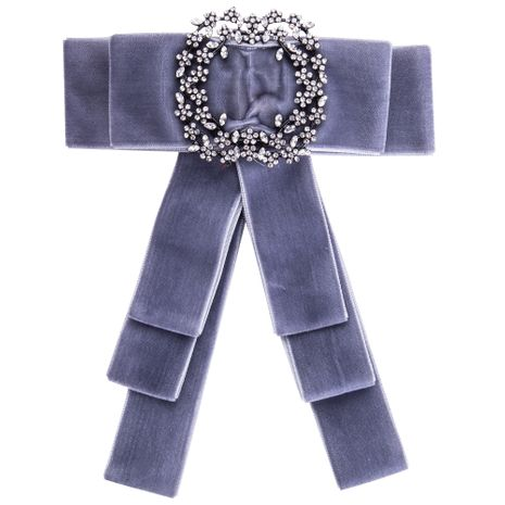 Simple Alloy Rhinestone brooch Bows (gray)  NHJE0905-gray's discount tags