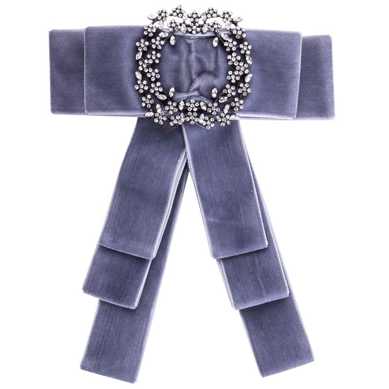 Simple Alloy Rhinestone brooch Bows (gray)  NHJE0905-gray