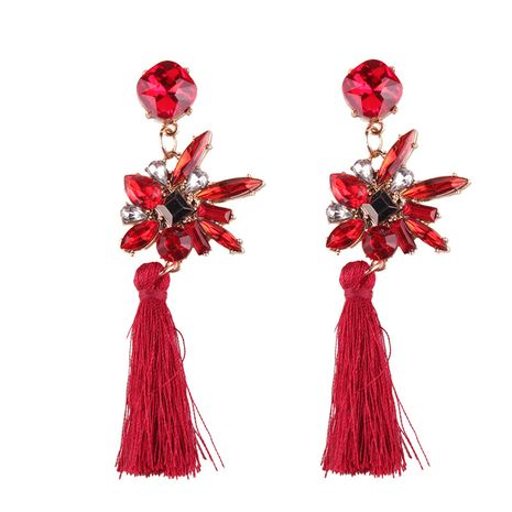 Fashion Cloth  earring Flowers (red)  NHJQ9716-red's discount tags