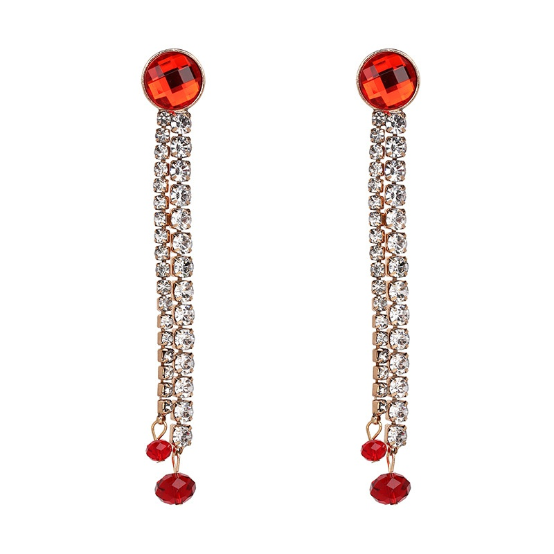 Other Imitated crystal&CZ  Earrings Geometric (red)  NHJJ3875-red