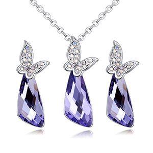 Austrian Imitated crystal Set  Butterfly Love lotus purple NHKSE27057