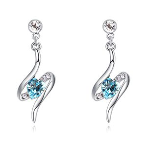 Austrian imitated crystal earrings - eternal love (sea blue) NHKSE26991