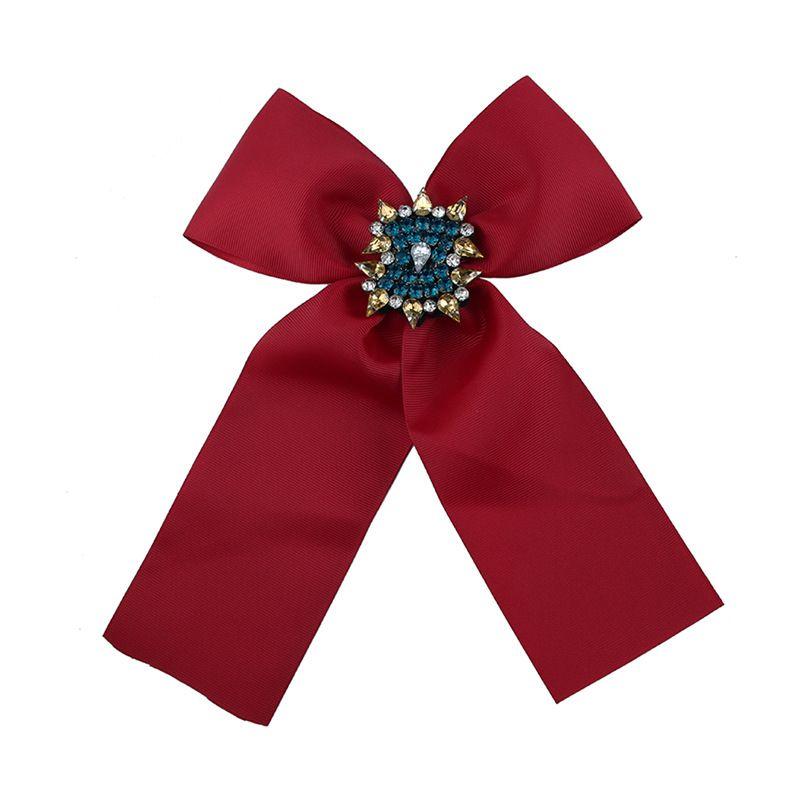 Fashion Alloy Rhinestone brooch Bows red  NHJQ9796red