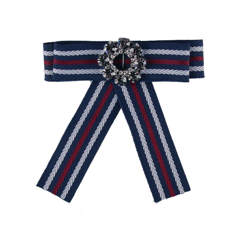 Fashion Alloy Rhinestone brooch Bows (blue)  NHJQ9801-blue