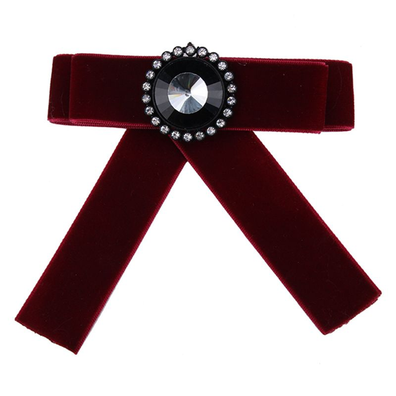 Fashion Alloy Rhinestone brooch Bows (red)  NHJQ9804-red