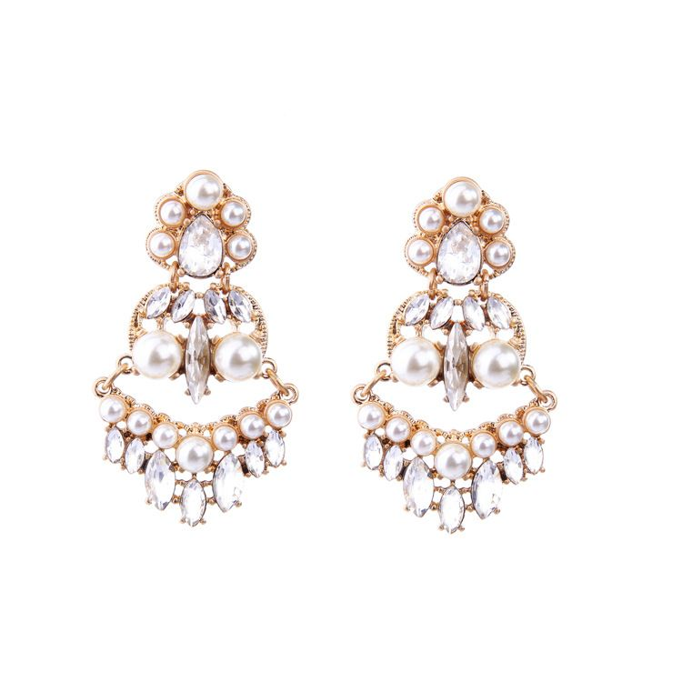 Fashion Alloy Rhinestone Earrings Flowers (white)  NHQD4322-white