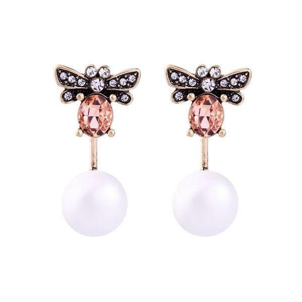 Fashion Alloy Rhinestone Earrings Animal (white)  NHQD4335-white