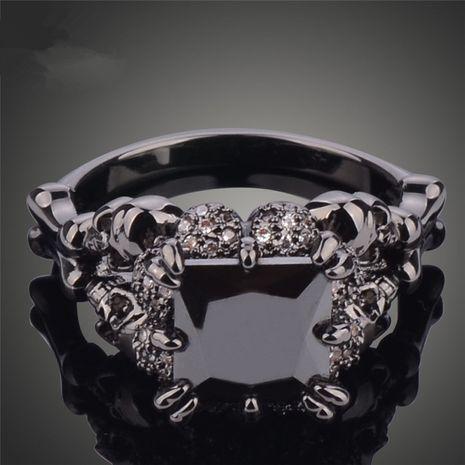 Fashion Alloy Inlaid zircon Rings Skull head (Black -6)  NHSK0093-Black -6's discount tags