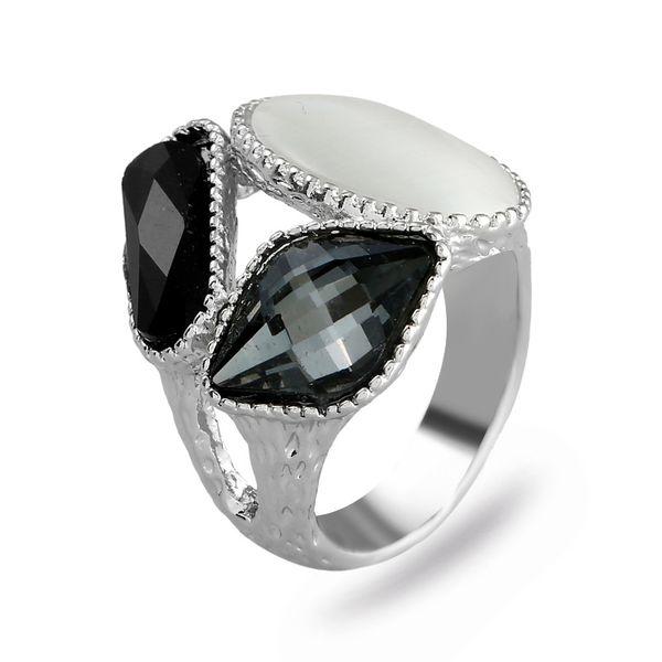 Fashion Alloy plating Rings Geometric (White K Gray -7)  NHKQ1422-White K Gray -7