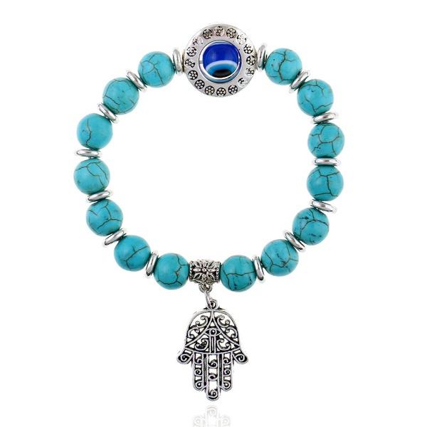 Other Imitated crystal&CZ  Bracelets Geometric (Alloy + blue)  NHKQ1424-Alloy + blue