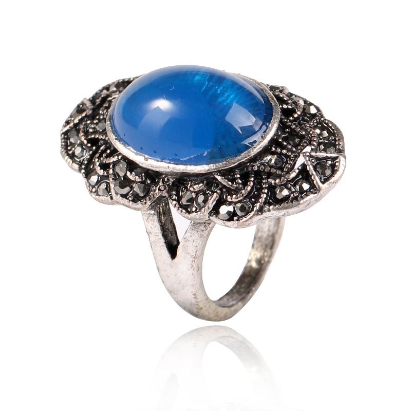 Fashion Alloy plating Rings Geometric (Alloy + Blue -7)  NHKQ1427-Alloy + Blue -7