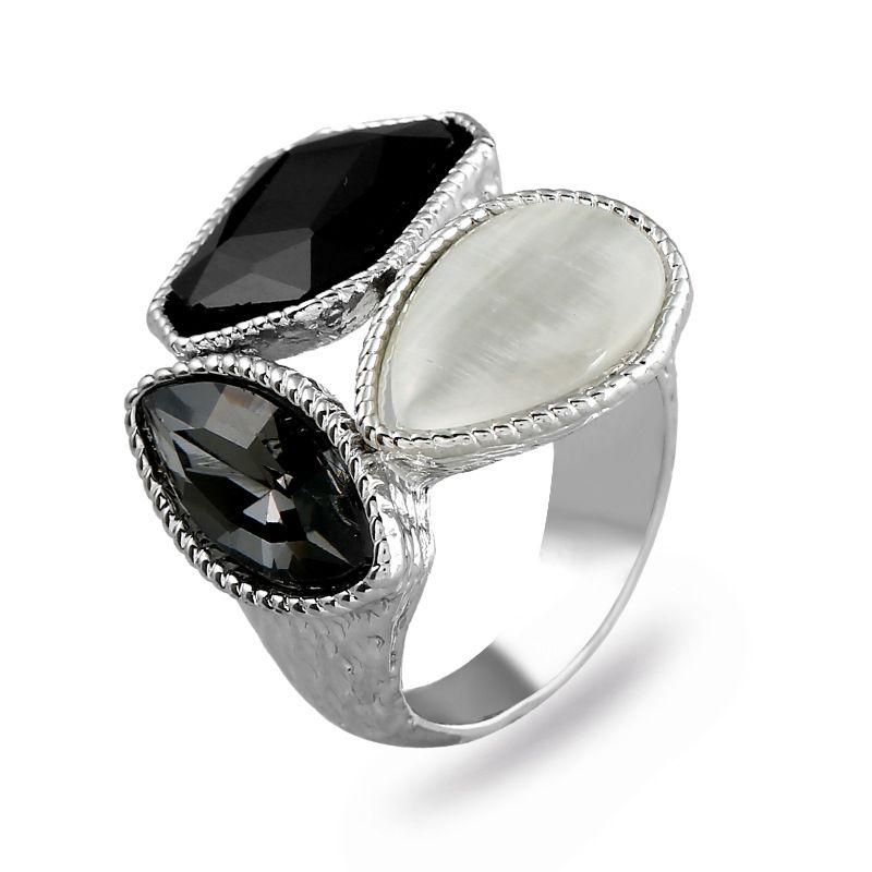 Fashion Alloy plating Rings Geometric (White K Gray -7)  NHKQ1428-White K Gray -7