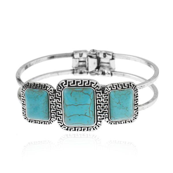 Fashion Alloy plating bracelet Geometric (Alloy + blue)  NHKQ1429-Alloy + blue