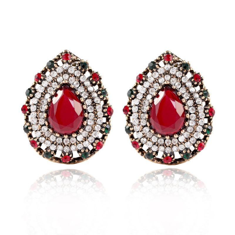 Fashion Alloy plating earring Geometric (Alloy red)  NHKQ1431-Alloy red