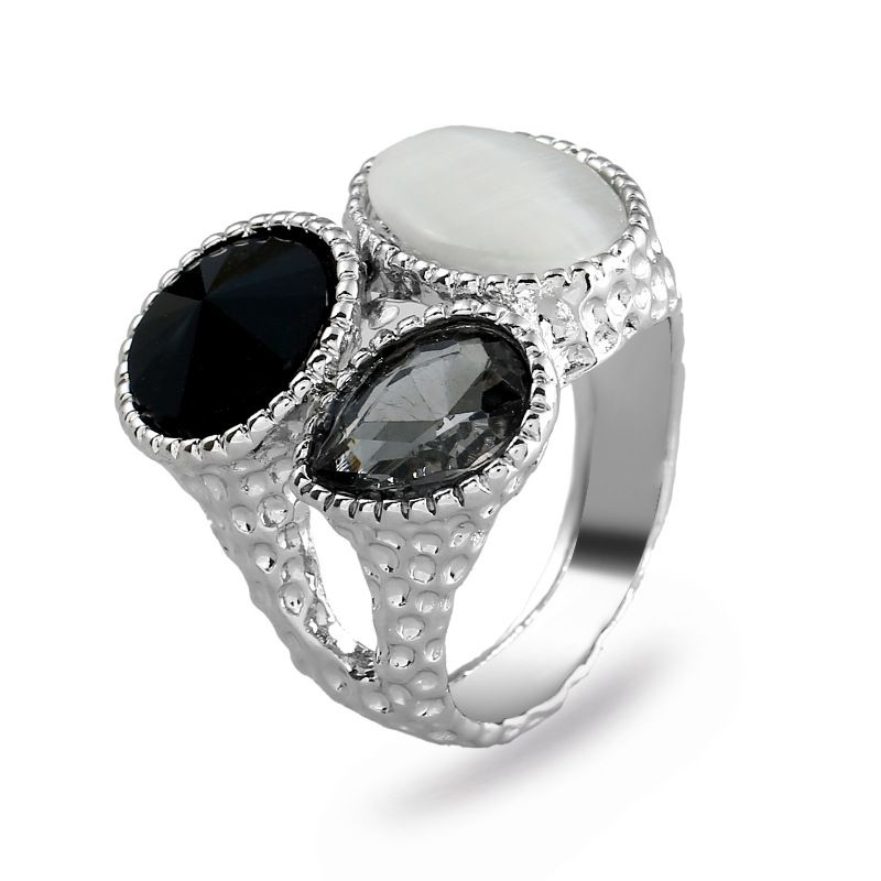 Fashion Alloy plating Rings Geometric (White K Gray -7)  NHKQ1442-White K Gray -7