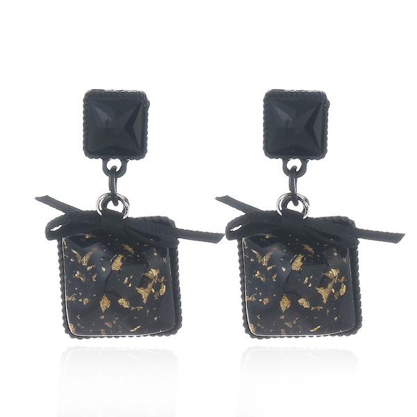 Fashion Alloy Rhinestone earring Geometric (black)  NHKQ1443-black
