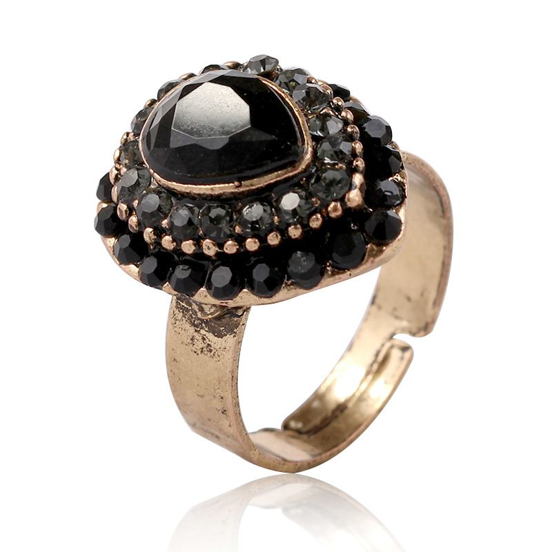 Fashion Acrylic  Rings Geometric (Old alloy black)  NHKQ1454-Old alloy black