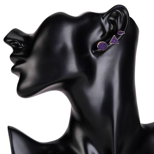 Fashion Natural Stone  Earrings Geometric (purple)  NHJE0916-purple