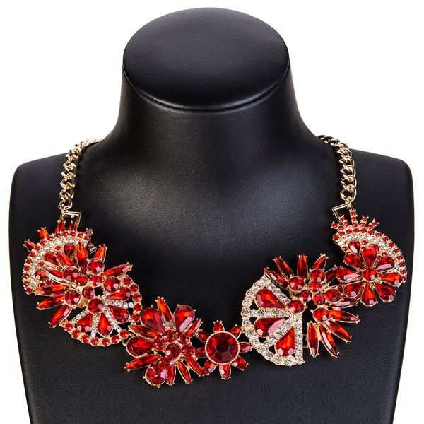 Fashion Alloy Rhinestone necklace Flowers (red)  NHJE0920-red