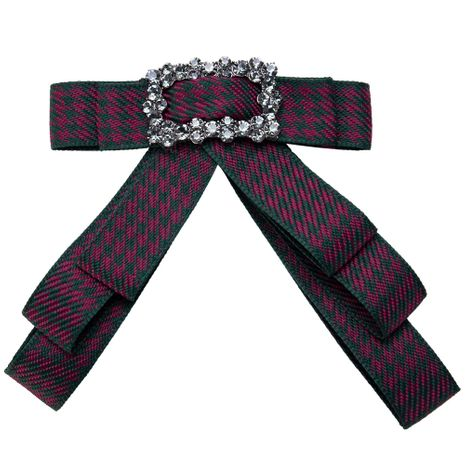 Fashion Alloy Rhinestone brooch Bows (Red and green)  NHJE0922-Red and green's discount tags