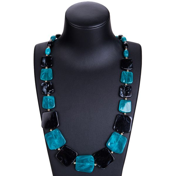 Fashion Alloy plating necklace Geometric (Blue black)  NHJE0928-Blue black