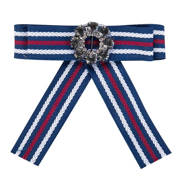 Fashion Alloy Rhinestone brooch Bows (Blue and white red)  NHJE0934-Blue and white red