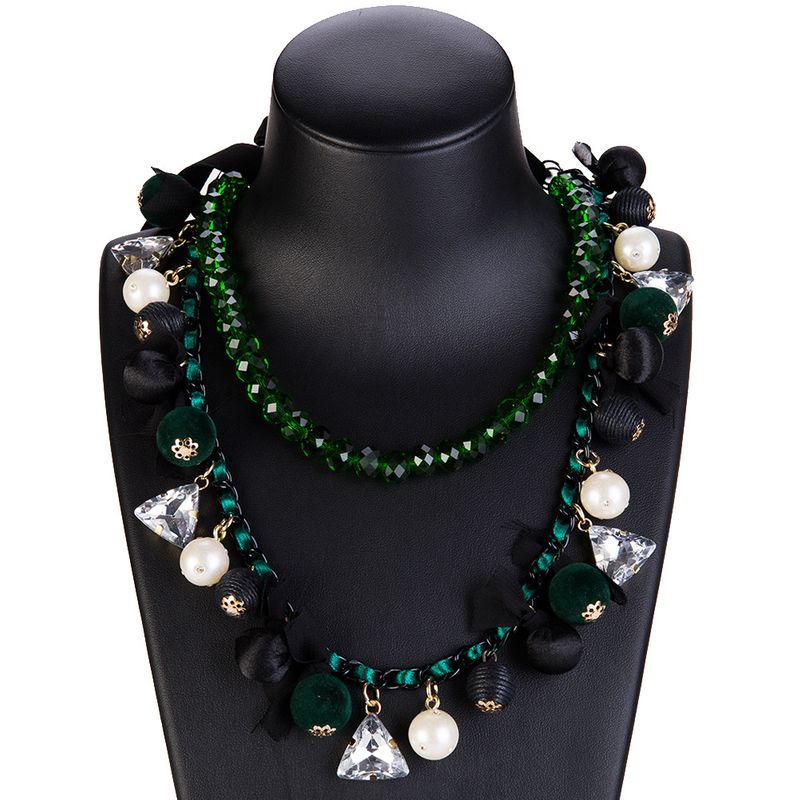 Fashion Alloy Rhinestone necklace Geometric green  NHJE0935green