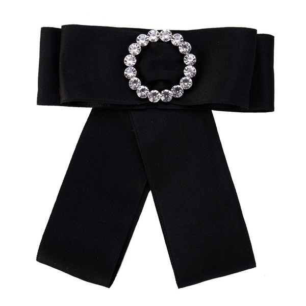 Fashion Alloy Rhinestone brooch Bows (black)  NHJE0947-black