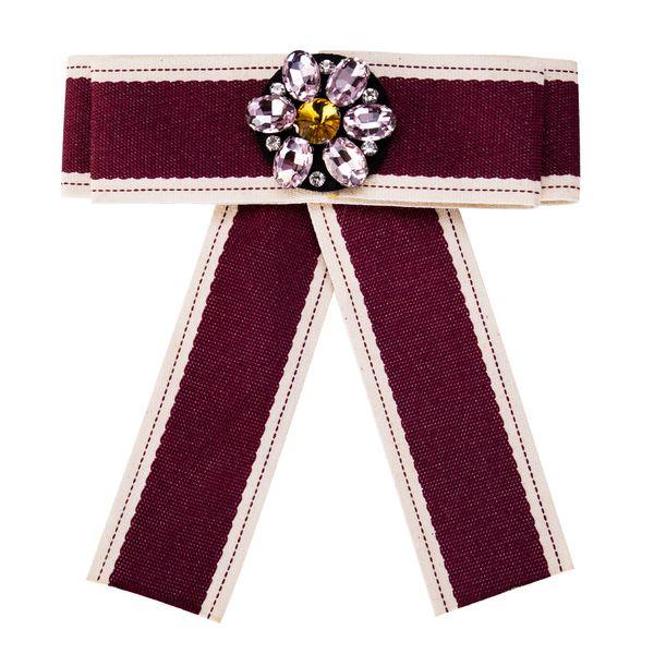 Fashion Alloy Rhinestone brooch Bows (purple)  NHJE0950-purple