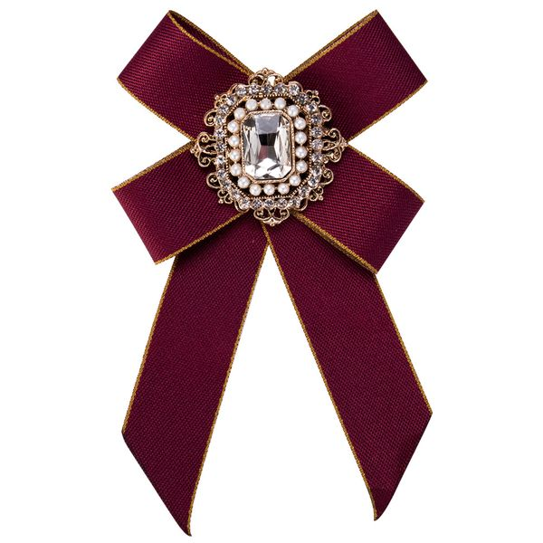 Fashion Alloy Rhinestone brooch Bows (red)  NHJE0952-red