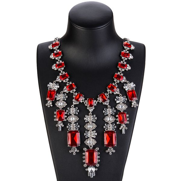 Fashion Alloy Rhinestone necklace Geometric (red)  NHJE0946-red
