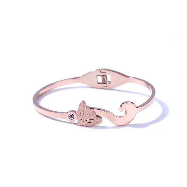 Simple Titanium&Stainless Steel  bracelet Geometric (Rose alloy)  NHIM1056-Rose alloy