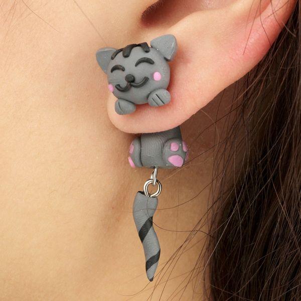 Fashion Imitated crystal&CZ  earring Animal (gray)  NHGY0963-gray
