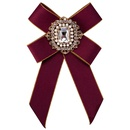 Fashion Alloy Rhinestone brooch Bows red  NHJE0952red