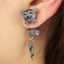 Fashion Imitated crystalCZ  earring Animal gray  NHGY0963gray