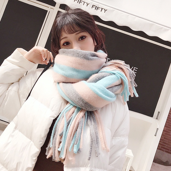 Cute Cloth  scarf  (pink greenish)  NHCM1184-pink greenish