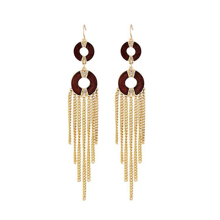 Fashion Alloy Rhinestone earring Tassel Alloy  NHQD4249Alloy