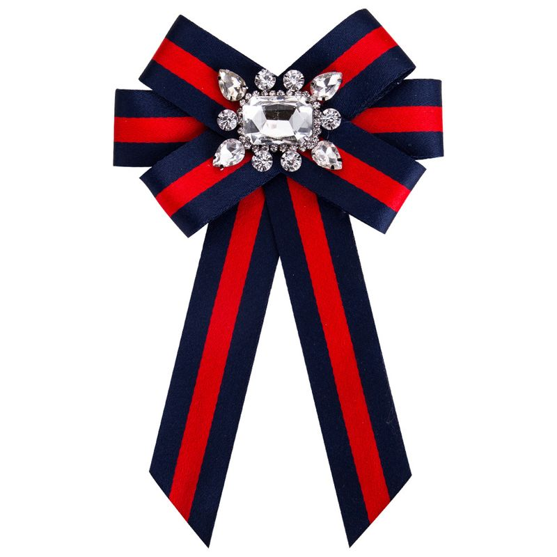 Fashion Alloy Rhinestone brooch Bows Bluered  NHJE0873Bluered