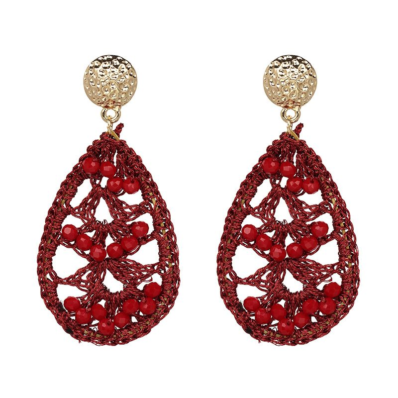 Other Alloy Micro-mosaic Earrings Geometric (red)  NHJJ3622-red