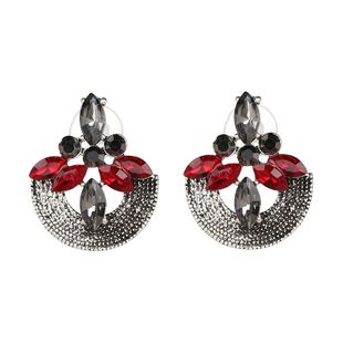 Vintage Alloy Rhinestone Earrings Geometric (red)  NHJJ3633-red's discount tags