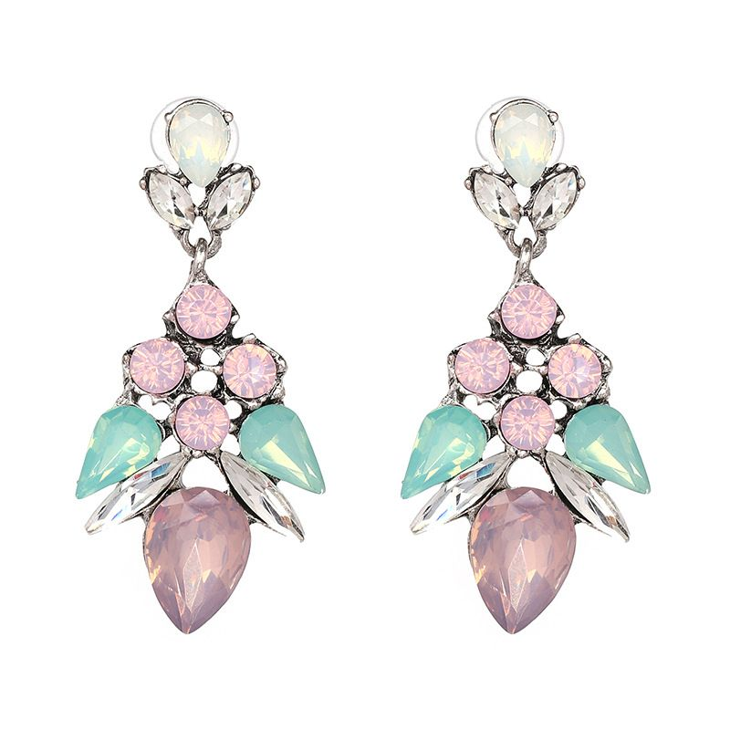 Simple Imitated crystal&CZ  Earrings Flowers (color)  NHJJ3665-color