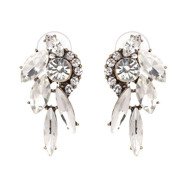 Simple Alloy Rhinestone Earrings Geometric (white)  NHJJ3669-white