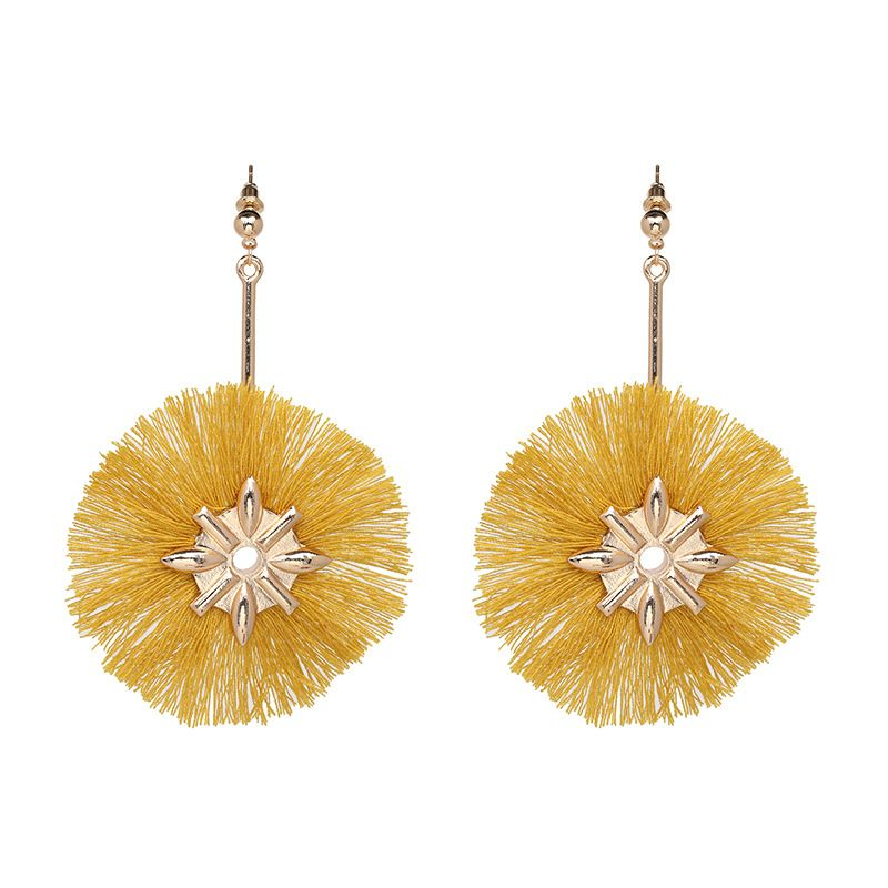 Fashion Alloy plating earring Flowers (yellow)  NHJJ3678-yellow