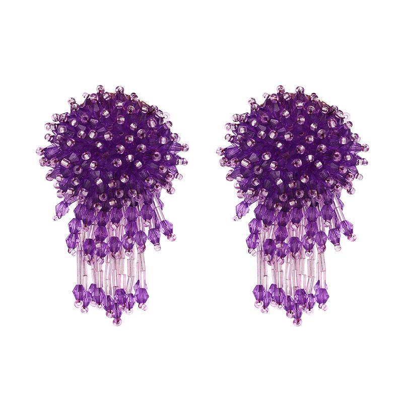 Fashion Alloy Inlaid imitated crystal Earrings Flowers (purple)  NHJJ3692-purple