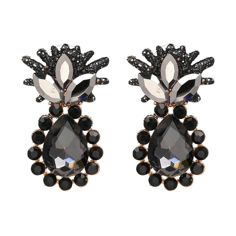 Vintage Imitated crystalCZ  earring Flowers black  NHJJ3700black