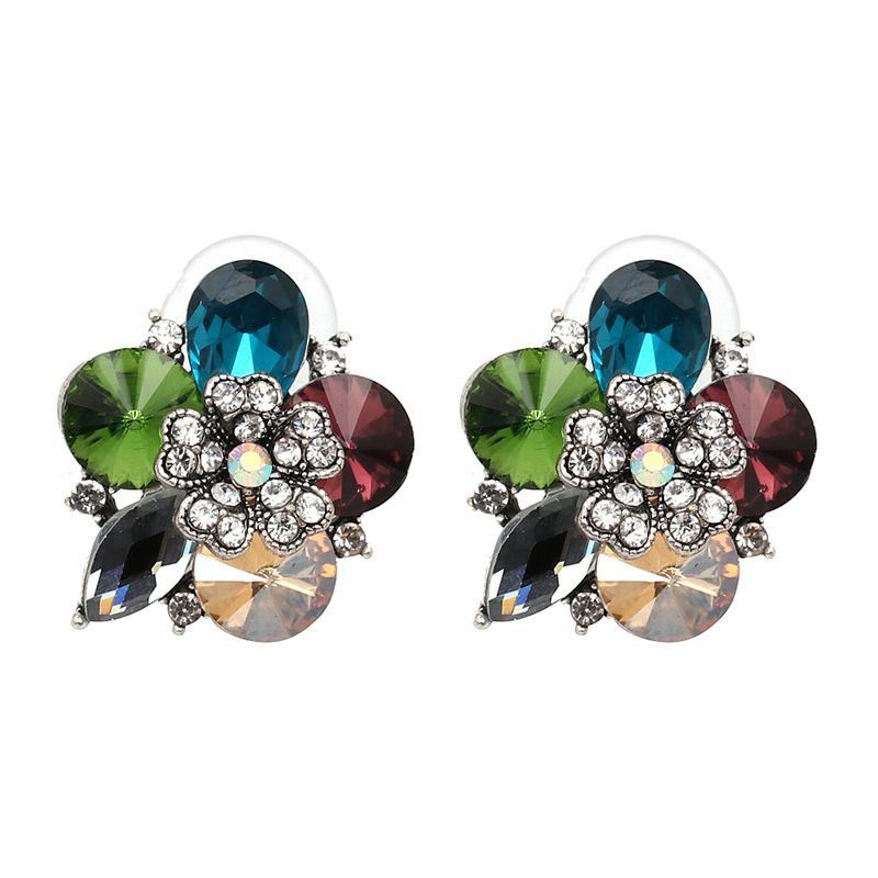 Simple Imitated crystal&CZ  Earrings Flowers (Photo Color)  NHJJ3734-Photo Color
