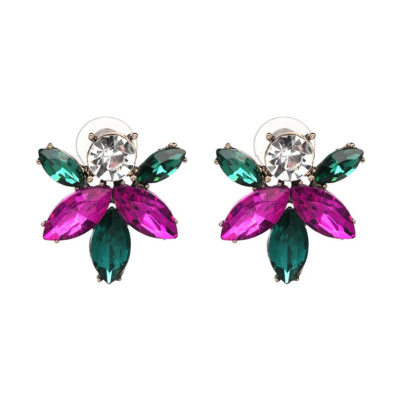 Other Imitated crystal&CZ  Earrings Flowers (color)  NHJJ3755-color