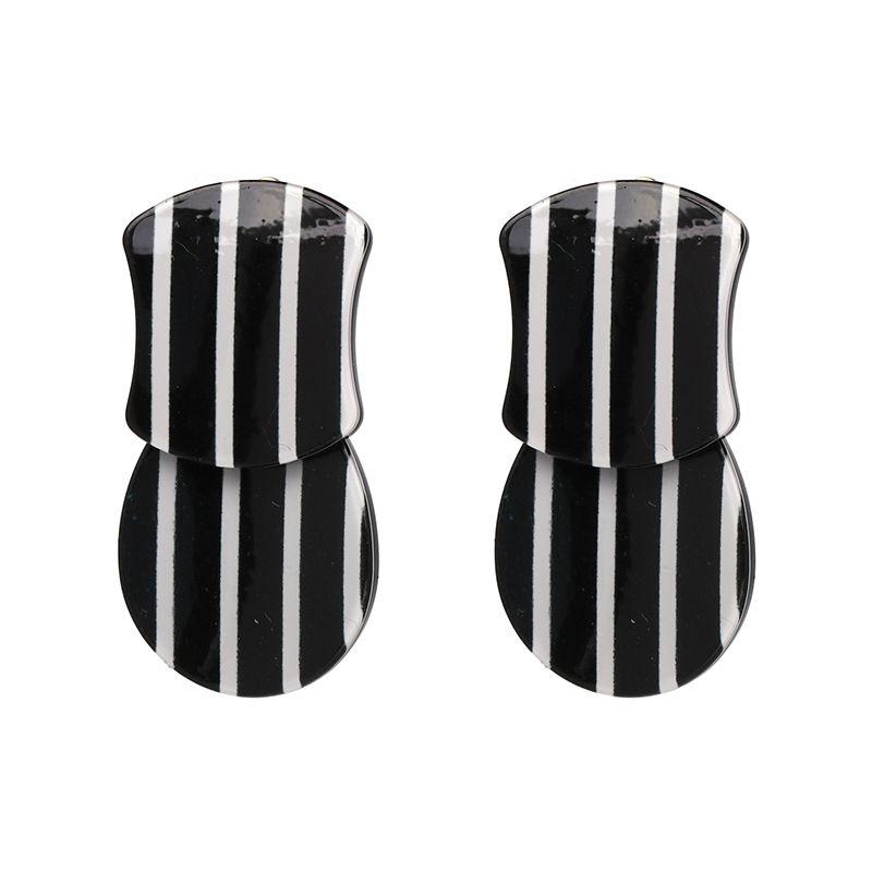 Other Other  Earrings Geometric (Black + white)  NHJJ3765-Black + white
